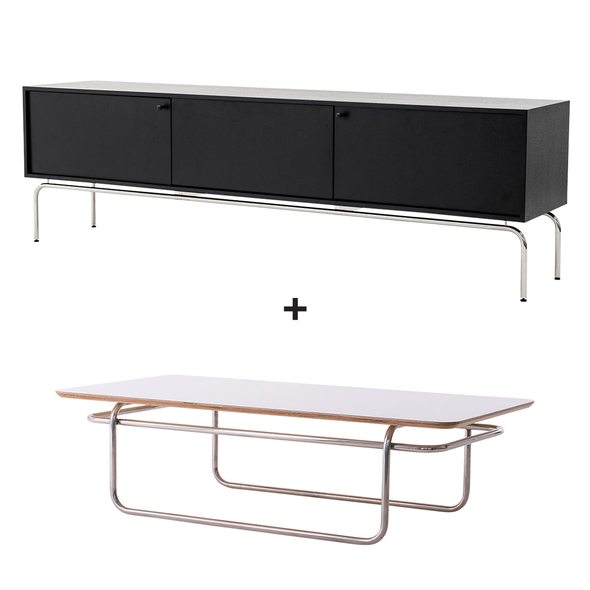 LINEA SET (TV STAND+SOFA TABLE WHITE,BLACK)